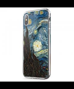 Van Gogh - Starry Night - iPhone X Carcasa Transparenta Silicon