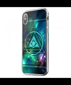 Triangle Galaxy 2 - iPhone X Carcasa Transparenta Silicon